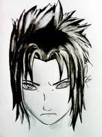 Sasuke Uchiha with Pain's  rinnegan by odrozz