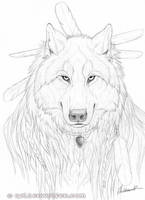 Wolf Portrait Drawing by Goldenwolf