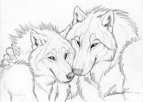Cuddly Couples - Wolves02 by Goldenwolf