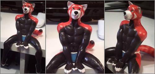 Red panda sporty boy by LaVolpeGuy