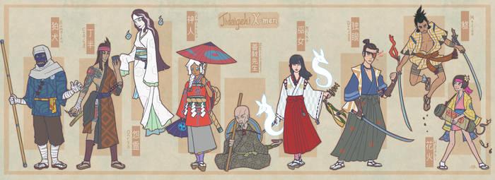 Jidaigeki X-Men: Core Roster by genesischant
