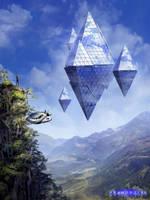 Shadowtide Floating Alien City Concept by tekkoontan