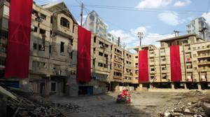 Buildings in Desert Concept Art by tekkoontan