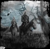 Geralt and Ciri by Mekari