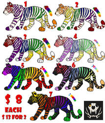 Rainbow Tiger Adopts (OPEN) by CalicoCougar