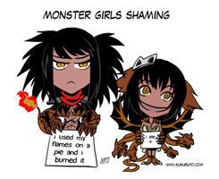 Monster girls shaming by KukuruyoArt