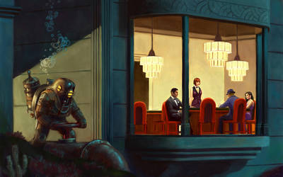 Poker Players ( Hopper went to Rapture ) by astoralexander