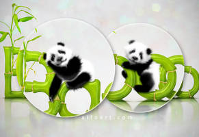 Cute Pandas and Bamboo Text Effect by AlexandraF