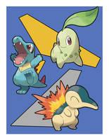 2nd Gen starter Pokemon by nickoswar