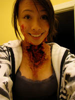 Neck Horror Wound Makeup by samoyed16
