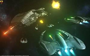 Battlestar under fire by Euderion