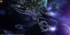 Quarian Flotilla - Destroyer type starship by Euderion