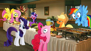Mane 6 At A Buffet by Mr-Kennedy92