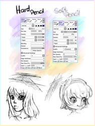 2 PENCIL BRUSHES [Paint Tool SAI] by IchigoArts