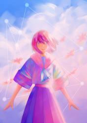 Schoolgirl with the sunset by thaiiro-kun