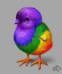 Daily Painting 013 Rainbow Chicky by misha-dragonov