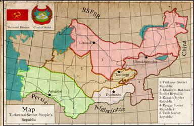 Map of the Turkestan Soviet People's Republic by NikAverbax