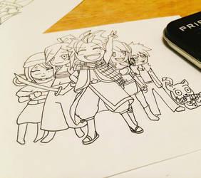Fairytail Chibi gang by buttmuffinzombie