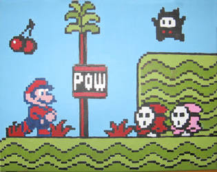Mario POWing the Shyguys by Squarepainter