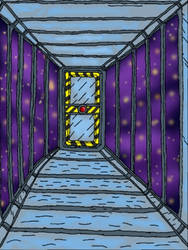 Redraw : space station viewing hallway by shifter124