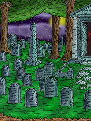Background : Cemetery at night. by shifter124
