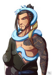 Hanzo with tiny dragons by M-hourglass