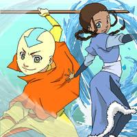 Aang and Katara by p-doggie