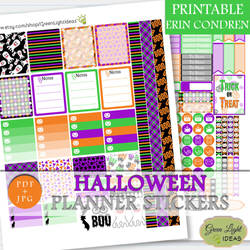 Halloween Printable Planner Stickers by GreenLightIdeasGLI