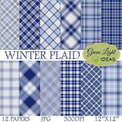 Winter Plaid Digital Papers by GreenLightIdeasGLI