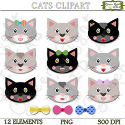 Cats Clipart by GreenLightIdeasGLI