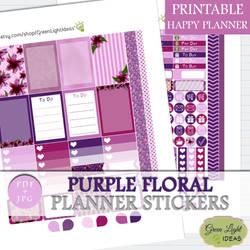Painted Purple Flowers Planner Stickers by GreenLightIdeasGLI