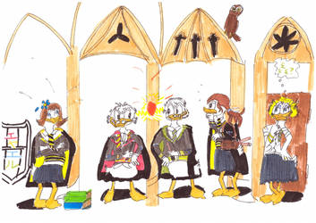 Ducks at Hogwarts by Eyaelle