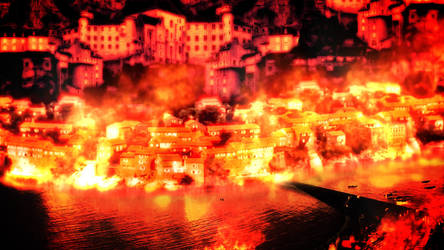 Burning City Matte Painting by Shaostyle
