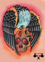 tattoo-flash eagle and skull by Tausend-Nadeln