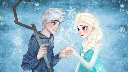 Jack Frost and queen Elsa by OnceInAwhile89