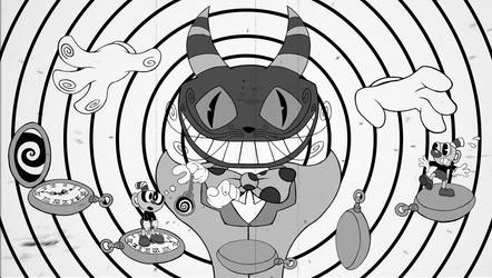 Cuphead Boss The Odd Cat Black and White by sav8197