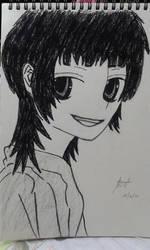 Sagittarius (Azusa Kinose) - charcoal drawing by RondineYamamoto
