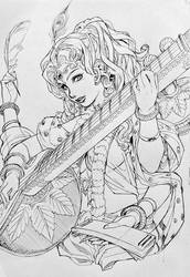 Goddess Saraswati by xong