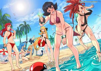 beach Girls and Pokemon by xong