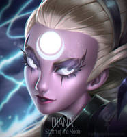 League of Legends - Diana Portrait by AngellMoonlight