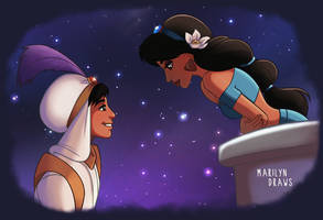 Princess Jasmine and Aladdin by marilyndraws