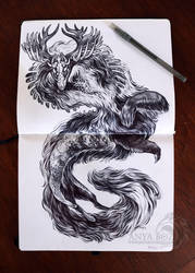 Scarlet Shadow Dragon Drawing by AnyaBoz