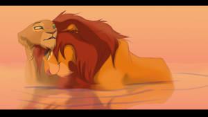 Simba and Nala by WildRogueLioness