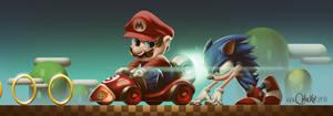 Mario vs Sonic by fubango