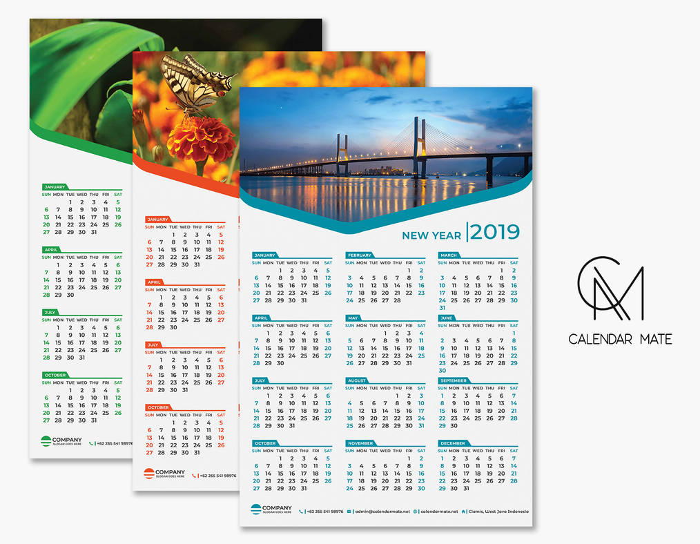 Riang Free One Page Calendar 2019 Template Psd By Calendarmate On