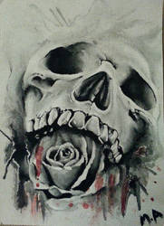 Skull and Rose by XxAllXAlonexX