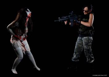 The Zombie Vs The Survivor by Artyfakes