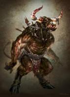 God of War III- Minotaur by andyparkart