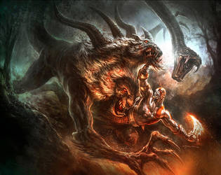 God of War III- Chimera Battle by andyparkart