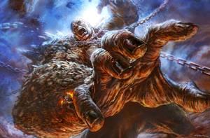 God of War III- Titan Battle by andyparkart
